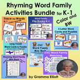 Rhyming Word Family Activities Bundle for K-1 in COLOR and BW
