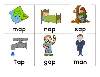 Word Family Memory Game- at, an, ap. Great for ESL!