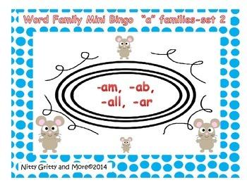 "Word Family Mini Bingo  ""A"" Familiies - Set 2 - revised"