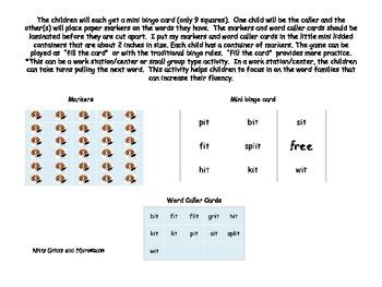 "Word Family Mini Bingo  ""I"" families"