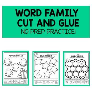 Word Family No Prep Cut and Glue!