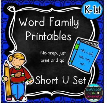 Word Family No-Prep Printables: Short U Pack