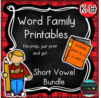 Word Family No-Prep Printables: Short Vowel Packs Bundle