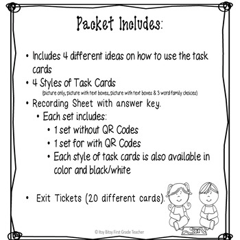 """Word Family """"O"""" Task Cards"""