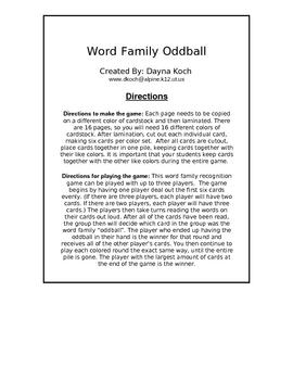 Word Family Oddball