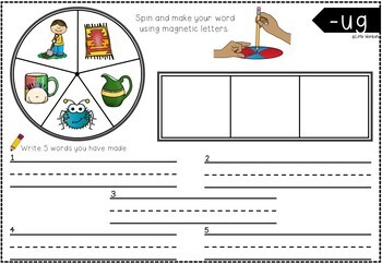 Word Family Onset and Rime Spinner Activity