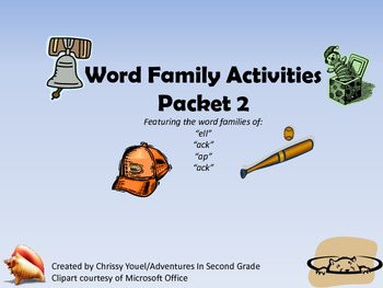 Word Family Packet 2:  Featuring ell, ap, at, ack