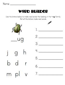 Word Family Packet (-ug)