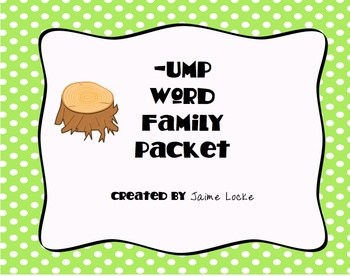 Word Family Packet (-ump) -free-