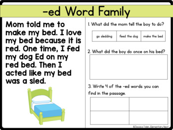 Word Families Reading Comprehension Passages and Questions