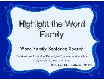 Word Family Passages- The A word families