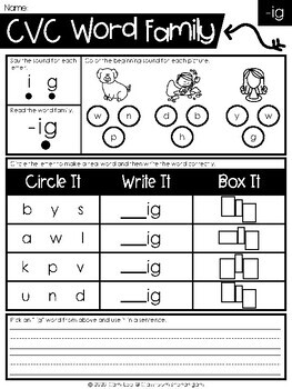 CVC and Word Families Phonics Worksheets