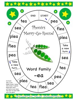 Word Family Phonics Merry-Go-Round Games A Second 10-pack