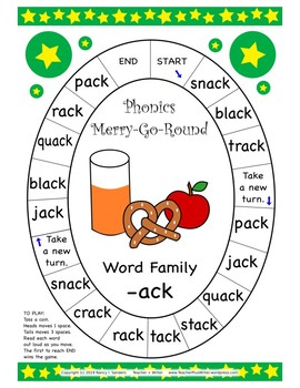 Word Family Phonics Merry-Go-Round Games A Third 10-pack