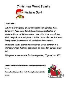 Word Family Picture Sort-Christmas
