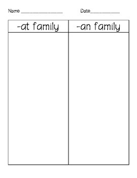 Word Family Picture Sort: -at/-an
