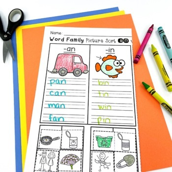 Word Family Picture Sorts and Worksheets
