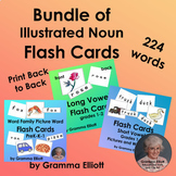 Bundle of 224 Vocabulary Word Flash Cards - Pre K-K-1-2 - BW and Color Pictures