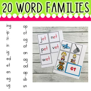 Word Family Pocket Chart (20 Word Families Included)