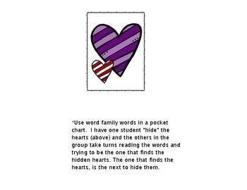 Word Family Pocket Chart Activity:  Free Valentine Fun