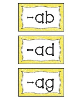 Word Family Pocket Chart Sorting Cards