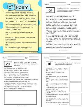 Word Family Poetry - Poems For Your Poetry Center, -All Family
