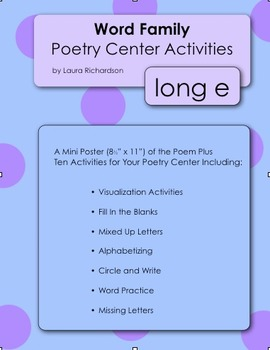 Word Family Poetry - Poems For Your Poetry Center, Long E Families