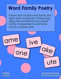 Word Family Poetry - Poems For Your Poetry Center, Set 2 - Long Vowels