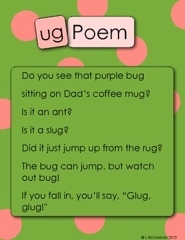Word Family Poetry Poems For Your Poetry Center Ug Family Tpt