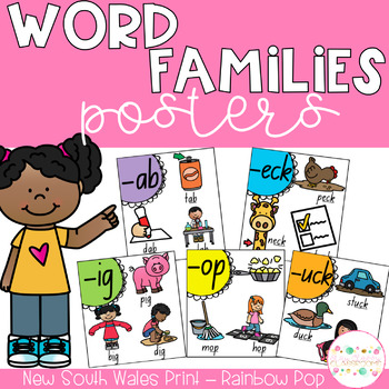 Word Family Posters - New South Wales Print Font (Rainbow Pop)