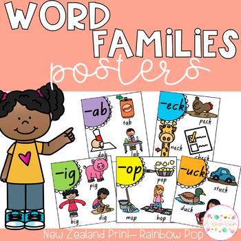 Word Family Posters - New Zealand Print (Rainbow Pop)