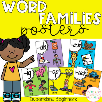 Word Family Posters - Queensland Beginners Font (Rainbow)