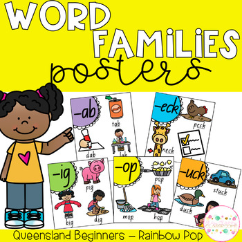 Word Family Posters - Queensland Beginners Font (Rainbow Pop)