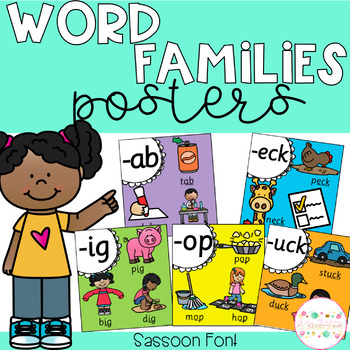 Word Family Posters - Sassoon Font (Rainbow)