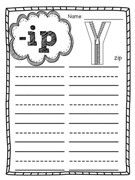 Word Family Posters Student Sheets and Fluency Strips