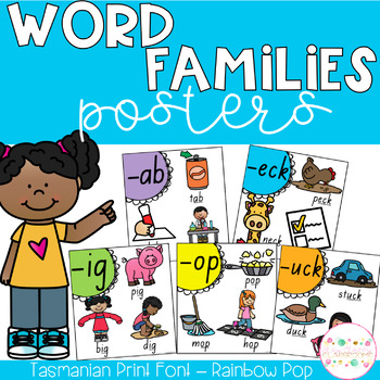 Word Family Posters - Tasmanian Print (Rainbow Pop)