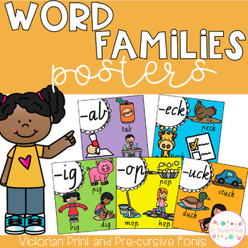 Word Family Posters - Victorian Fonts (Rainbow)