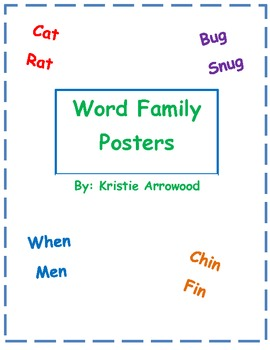 Word Family Posters: color coordinated word family posters