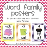 Word Family Posters for the 37 Most Common Rimes in Bright
