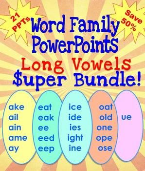 Word Family PowerPoints Long Vowels Super Bundle