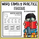 Word Family Practice FREEBIE