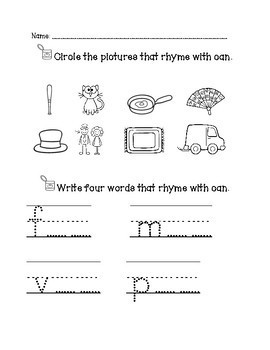 Word Family Practice Sheets, Rhyming words