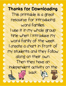 Word Family Work- With House and Printables