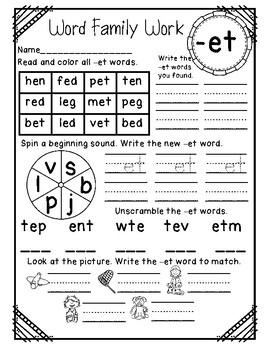 Word Family Print&Go-CVC Words