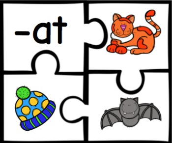Short Vowel Word Family Puzzles - 19 Puzzles Total