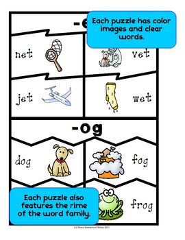 Word Family Puzzles - 70 Four or Five Piece Puzzles