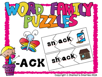 Word Family Puzzles (Short A Word Families)