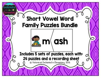 Word Family Puzzles: Short Vowel Bundle