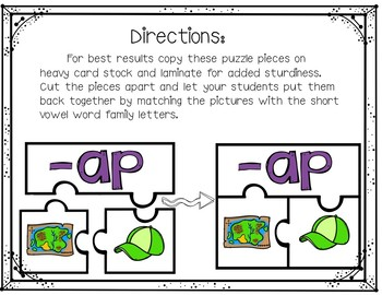 Word Family Puzzles (Short Vowel Words)