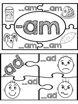 Word Family Puzzles (Short a Vowel Sound)